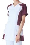 アプロンレディススクラブホワイト×プラム(016-25)